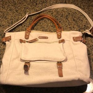 Cream and  Brown Leather Shoulder/Crossbody Bag